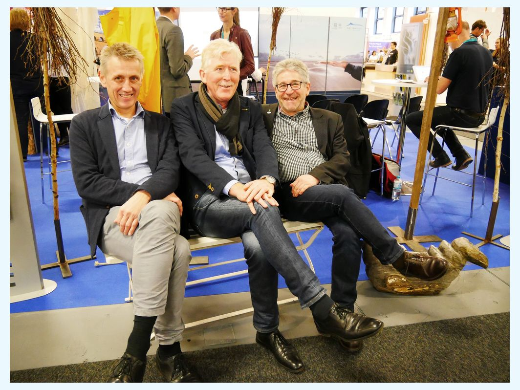 Heads of the German National Parks, Peter Südbeck, Detlef Hansen, Klaus Janke, at the joint Wadden Sea World Heritage booth at the ITB 2019. CWSS/Bostemann.
