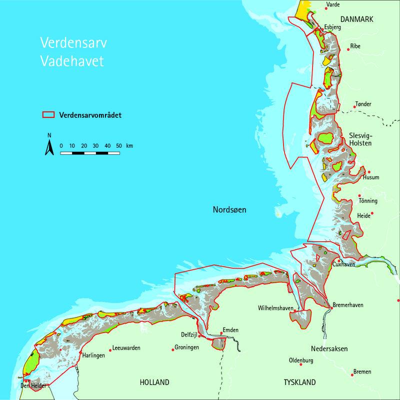 Kort Verdensarv Vadehavet Wadden Sea