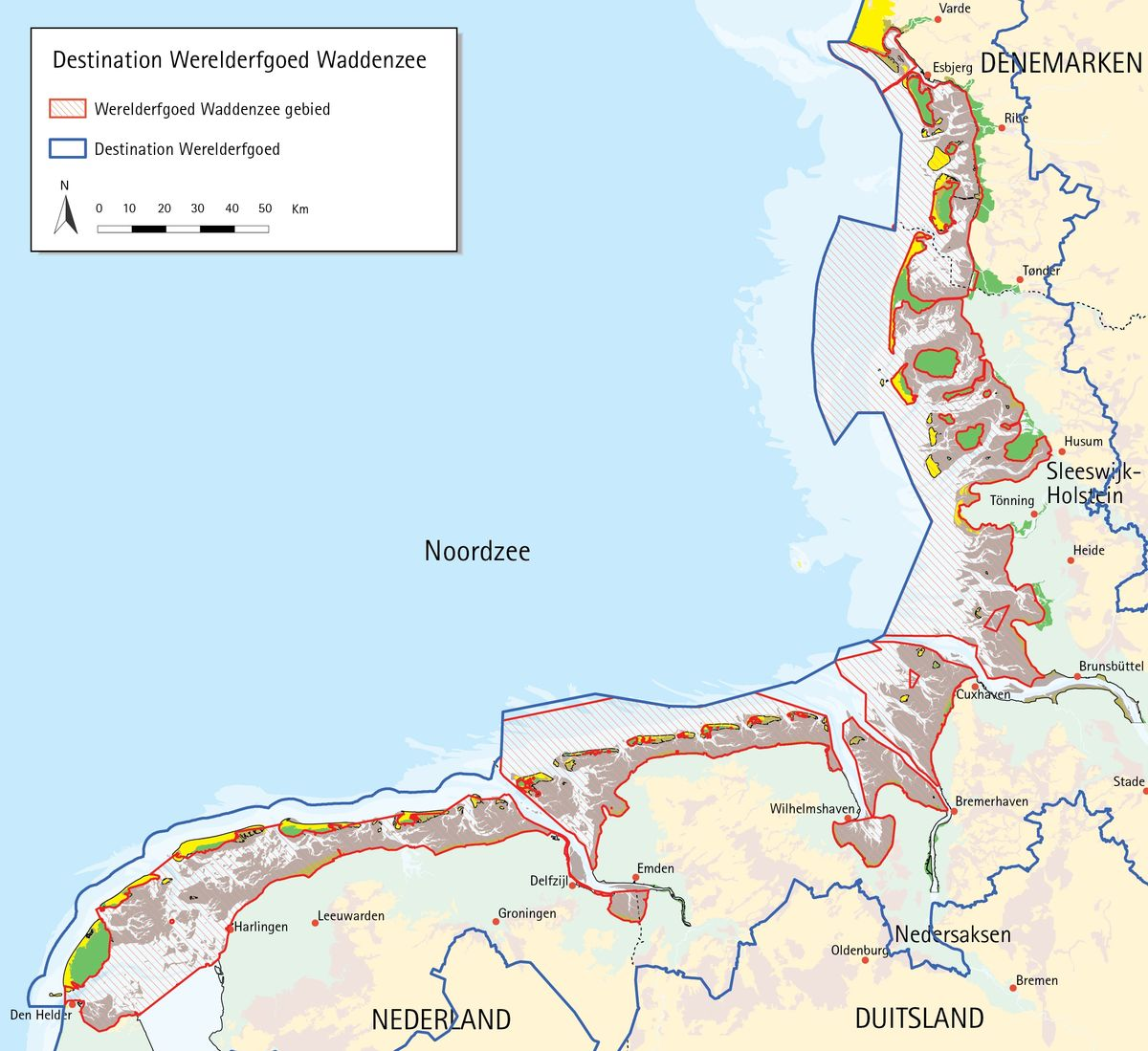 Map of the Wadden Sea Destination and World Heritage site. CWSS.