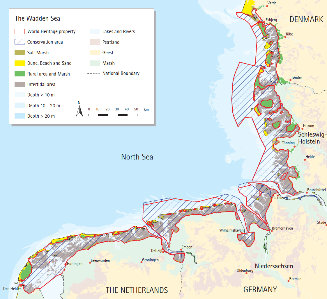 Map of the Wadden Sea Conservation area and World Heritage site. CWSS.