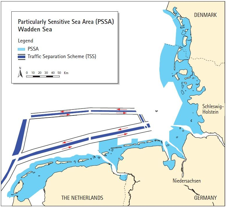 Map of the Particularly Sensitive Sea Area (PSSA) Wadden Sea. CWSS.